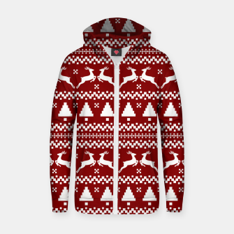 Large Dark Christmas Candy Apple Red Nordic Reindeer Stripe in White Zip up hoodie imagen en miniatura