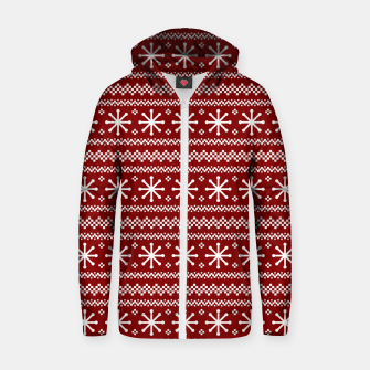 Thumbnail image of Large Dark Christmas Candy Apple Red Snowflake Stripes in White Zip up hoodie, Live Heroes