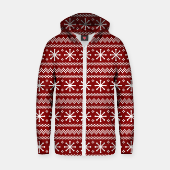 Thumbnail image of Dark Christmas Candy Apple Red Snowflake Stripes in White Zip up hoodie, Live Heroes