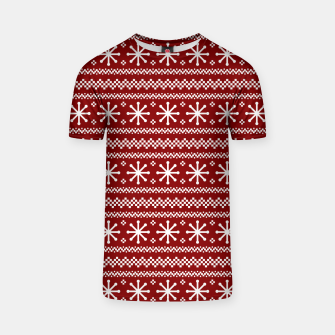 Dark Christmas Candy Apple Red Snowflake Stripes in White T-shirt imagen en miniatura