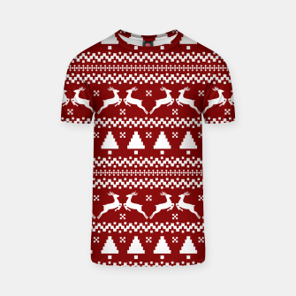 Large Dark Christmas Candy Apple Red Nordic Reindeer Stripe in White T-shirt imagen en miniatura