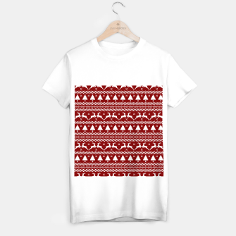 Large Dark Christmas Candy Apple Red Nordic Reindeer Stripe in White T-shirt regular imagen en miniatura