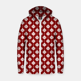 Dark Christmas Candy Apple Red with White Ball Ornaments Zip up hoodie imagen en miniatura