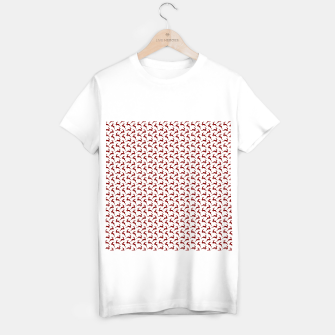 Dark Christmas Candy Apple Red Leaping Reindeer on White  T-shirt regular imagen en miniatura
