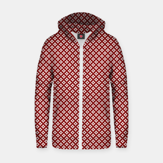 Miniaturka Large Dark Christmas Candy Apple Red and White Cross-Hatch Astroid Grid Pattern Zip up hoodie, Live Heroes