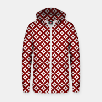 Miniaturka Dark Christmas Candy Apple Red and White Cross-Hatch Astroid Grid Pattern Zip up hoodie, Live Heroes