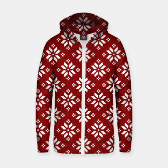 Large Dark Christmas Candy Apple Red with White Poinsettia Flowers Zip up hoodie imagen en miniatura