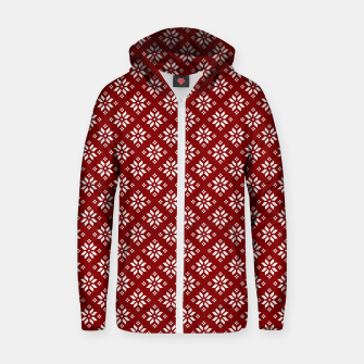 Miniatur Dark Christmas Christmas Candy Apple Red with White Poinsettia Flowers Zip up hoodie, Live Heroes