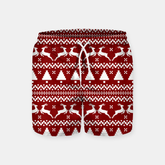 Large Dark Christmas Candy Apple Red Nordic Reindeer Stripe in White Swim Shorts imagen en miniatura