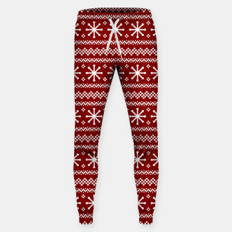 Dark Christmas Candy Apple Red Snowflake Stripes in White Sweatpants imagen en miniatura