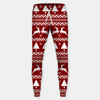 Large Dark Christmas Candy Apple Red Nordic Reindeer Stripe in White Sweatpants imagen en miniatura