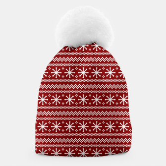Dark Christmas Candy Apple Red Snowflake Stripes in White Beanie imagen en miniatura