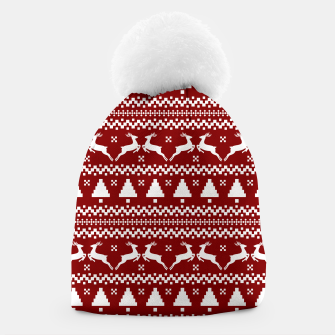 Large Dark Christmas Candy Apple Red Nordic Reindeer Stripe in White Beanie imagen en miniatura