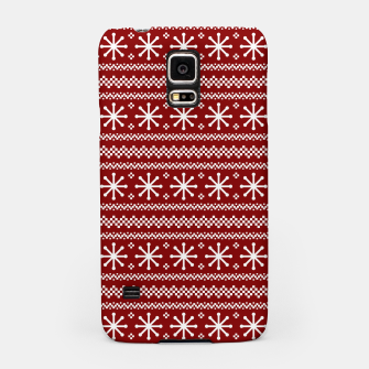 Dark Christmas Candy Apple Red Snowflake Stripes in White Samsung Case imagen en miniatura