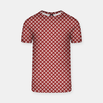 Miniaturka Large Dark Christmas Candy Apple Red and White Cross-Hatch Astroid Grid Pattern T-shirt, Live Heroes