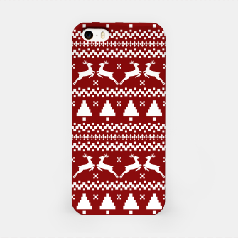 Thumbnail image of Large Dark Christmas Candy Apple Red Nordic Reindeer Stripe in White iPhone Case, Live Heroes
