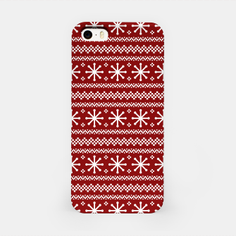 Large Dark Christmas Candy Apple Red Snowflake Stripes in White iPhone Case imagen en miniatura