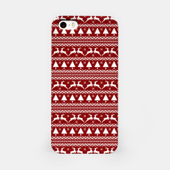 Thumbnail image of Dark Christmas Candy Apple Red Nordic Reindeer Stripe in White iPhone Case, Live Heroes