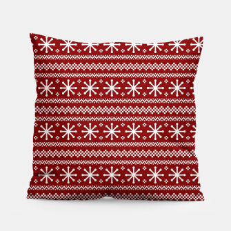 Dark Christmas Candy Apple Red Snowflake Stripes in White Pillow imagen en miniatura