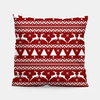 Thumbnail image of Large Dark Christmas Candy Apple Red Nordic Reindeer Stripe in White Pillow, Live Heroes