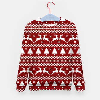 Thumbnail image of Large Dark Christmas Candy Apple Red Nordic Reindeer Stripe in White Kid's sweater, Live Heroes