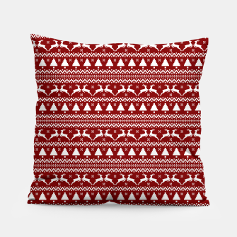 Thumbnail image of Dark Christmas Candy Apple Red Nordic Reindeer Stripe in White Pillow, Live Heroes