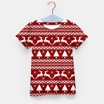 Thumbnail image of Large Dark Christmas Candy Apple Red Nordic Reindeer Stripe in White Kid's t-shirt, Live Heroes