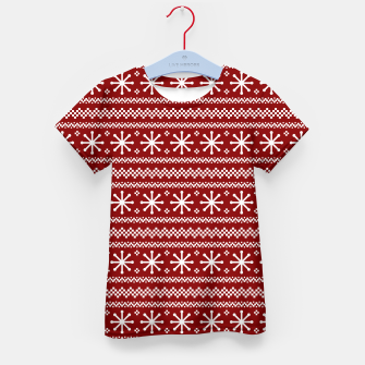 Thumbnail image of Large Dark Christmas Candy Apple Red Snowflake Stripes in White Kid's t-shirt, Live Heroes