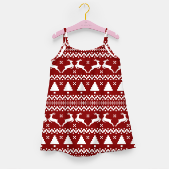 Thumbnail image of Large Dark Christmas Candy Apple Red Nordic Reindeer Stripe in White Girl's dress, Live Heroes