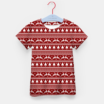 Thumbnail image of Dark Christmas Candy Apple Red Nordic Reindeer Stripe in White Kid's t-shirt, Live Heroes