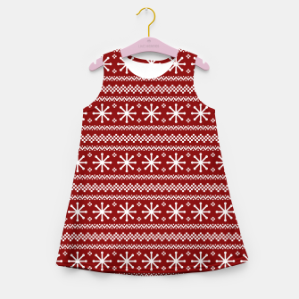 Thumbnail image of Dark Christmas Candy Apple Red Snowflake Stripes in White Girl's summer dress, Live Heroes