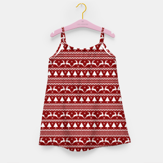 Thumbnail image of Dark Christmas Candy Apple Red Nordic Reindeer Stripe in White Girl's dress, Live Heroes