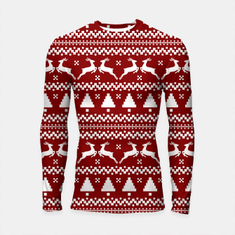Thumbnail image of Large Dark Christmas Candy Apple Red Nordic Reindeer Stripe in White Longsleeve rashguard , Live Heroes