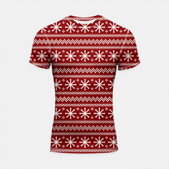 Thumbnail image of Dark Christmas Candy Apple Red Snowflake Stripes in White Shortsleeve rashguard, Live Heroes