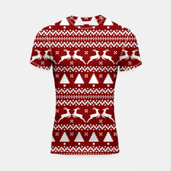 Thumbnail image of Large Dark Christmas Candy Apple Red Nordic Reindeer Stripe in White Shortsleeve rashguard, Live Heroes