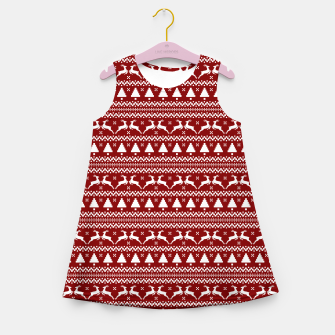 Thumbnail image of Dark Christmas Candy Apple Red Nordic Reindeer Stripe in White Girl's summer dress, Live Heroes