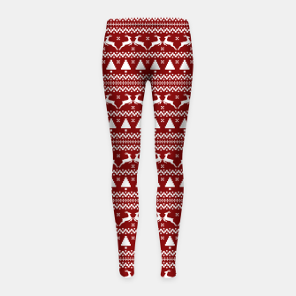 Thumbnail image of Dark Christmas Candy Apple Red Nordic Reindeer Stripe in White Girl's leggings, Live Heroes