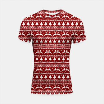 Thumbnail image of Dark Christmas Candy Apple Red Nordic Reindeer Stripe in White Shortsleeve rashguard, Live Heroes