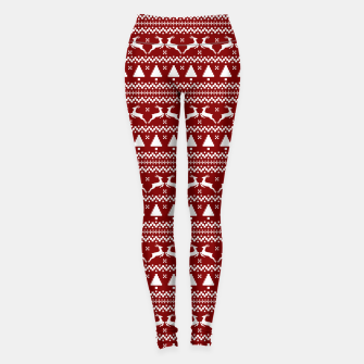 Thumbnail image of Dark Christmas Candy Apple Red Nordic Reindeer Stripe in White Leggings, Live Heroes