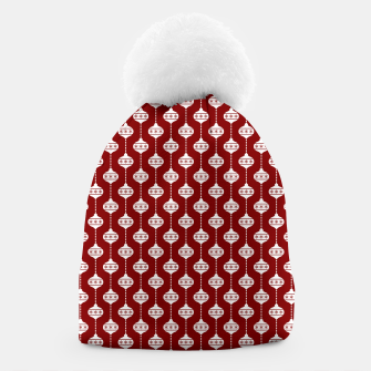 Miniatur Dark Christmas Candy Apple Red with White Ball Ornaments Beanie, Live Heroes