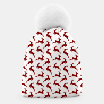 Thumbnail image of Large Dark Christmas Candy Apple Red Leaping Reindeer on White  Beanie, Live Heroes
