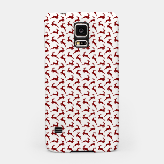 Dark Christmas Candy Apple Red Leaping Reindeer on White  Samsung Case imagen en miniatura