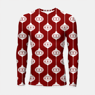 Miniatur Large Dark Christmas Candy Apple Red with White Ball Ornaments Longsleeve rashguard , Live Heroes