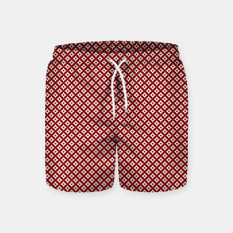 Miniaturka Large Dark Christmas Candy Apple Red and White Cross-Hatch Astroid Grid Pattern Swim Shorts, Live Heroes