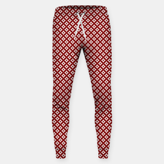 Miniaturka Large Dark Christmas Candy Apple Red and White Cross-Hatch Astroid Grid Pattern Sweatpants, Live Heroes