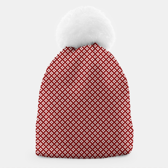 Miniaturka Large Dark Christmas Candy Apple Red and White Cross-Hatch Astroid Grid Pattern Beanie, Live Heroes