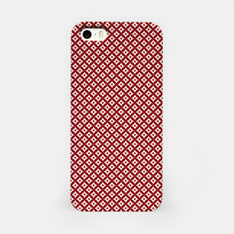 Miniaturka Large Dark Christmas Candy Apple Red and White Cross-Hatch Astroid Grid Pattern iPhone Case, Live Heroes