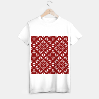 Large Dark Christmas Candy Apple Red with White Poinsettia Flowers T-shirt regular imagen en miniatura