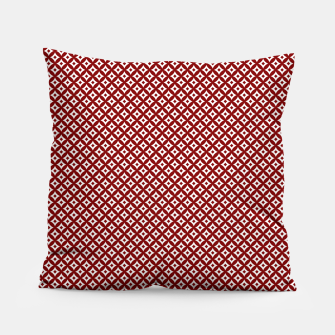 Miniaturka Large Dark Christmas Candy Apple Red and White Cross-Hatch Astroid Grid Pattern Pillow, Live Heroes