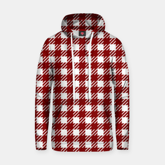 Large Dark Christmas Candy Apple Red Gingham Plaid Check Hoodie imagen en miniatura
